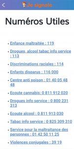 En cas de besoin des numéros verts et contacts des services d'assistances, d'aides et de soutien;
